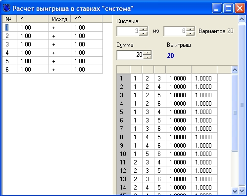 калькулятор системы ставок в букмекерских конторах Winline